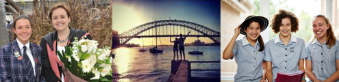 Wenona school, students and harbour bridge backdrop